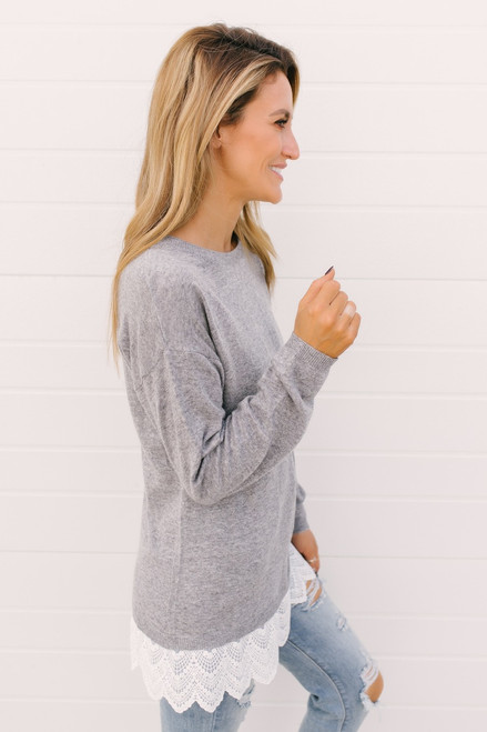 Notting Hill Lace Trim Sweater - Heather Grey