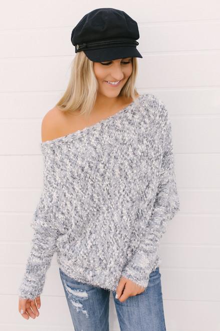 Haylee Cozy Confetti Bateau Sweater - Grey Multi