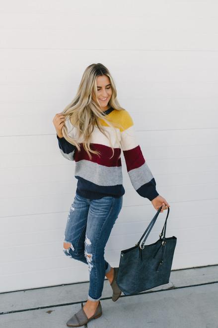 Autumn Sun Colorblock Sweater - Navy Multi