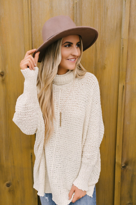 Open Knit Turtleneck Tunic Sweater - Natural