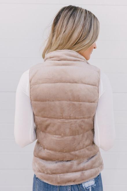 Mountain Vacation Soft Faux Fur Vest - Tan