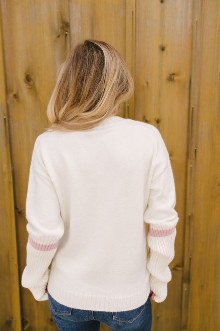 Delia Ribbed Detail Striped Sleeve Sweater - Ivory/Pink - FINAL SALE