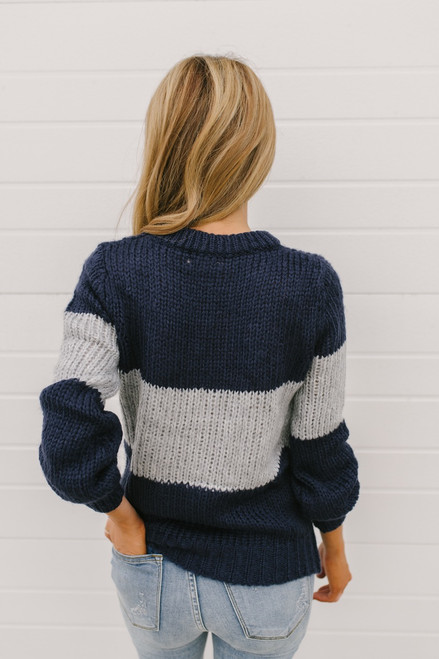 Local Legend Colorblock Sweater - Navy/Grey