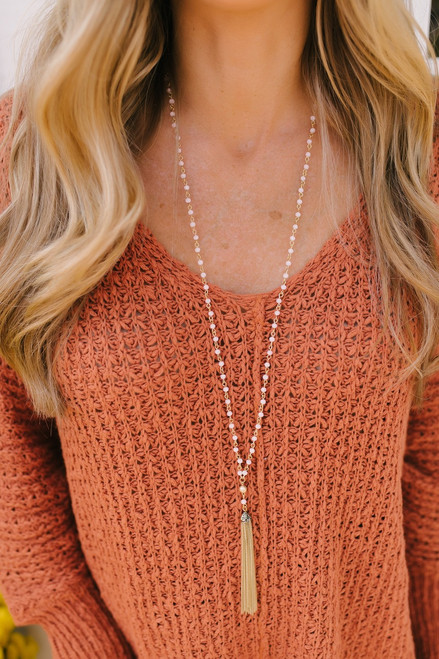 Charmed Life Beaded Tassel Necklace - Pink/Gold  - FINAL SALE