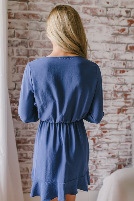 Everly Tie Sleeve Ruffle Dress - Moonlight Blue