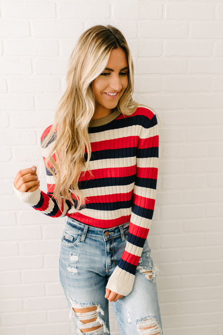 Teagan Ribbed Knit Striped Sweater - Red Multi