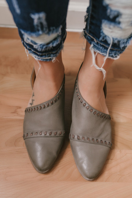 Raina Pointed Toe Stitched Flats - Taupe - FINAL SALE