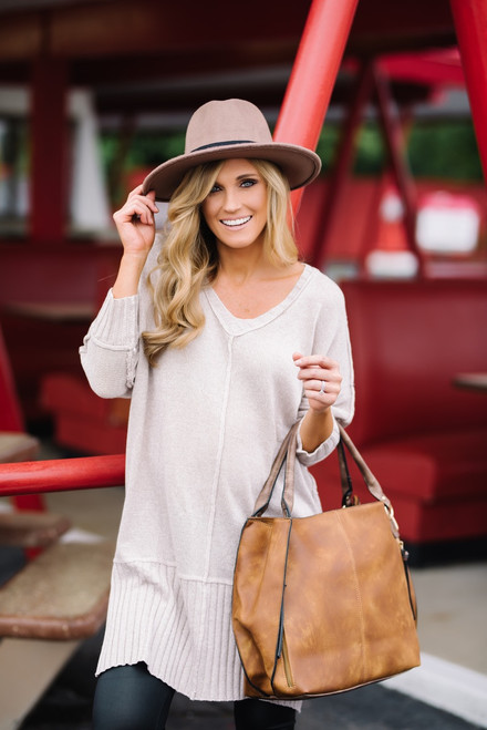 V-Neck Ribbed Detail Tunic Sweater - Taupe  - FINAL SALE