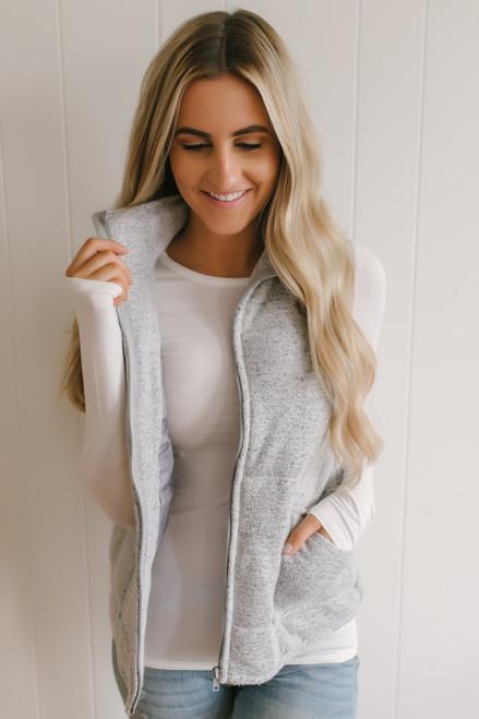 Fireplace Cuddles Soft Brushed Vest - Heather Grey  - FINAL SALE