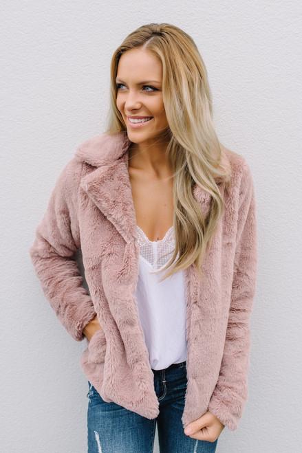 Crazy in Love Faux Fur Jacket - Mauve