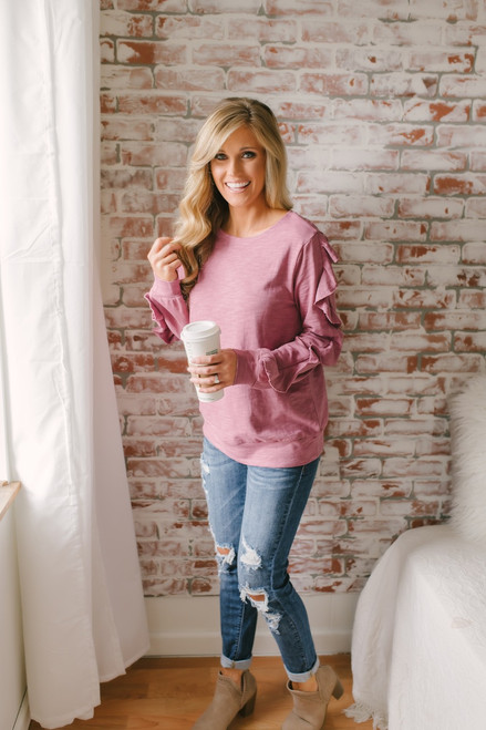 Lust for Life Ruffle Sleeve Pullover - Orchid Rose