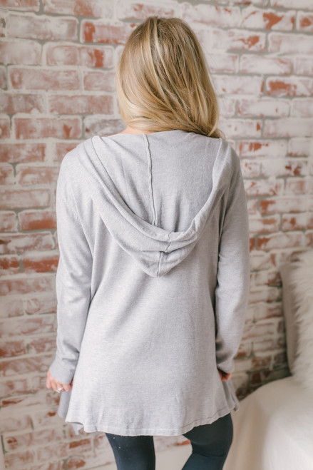 Destination Relaxation Hooded Pocket Cardigan - Heather Grey