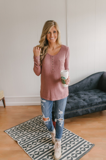 Button Detail Waffle Knit Top - Canyon Rose