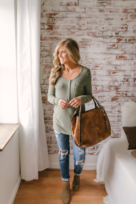 Button Detail Waffle Knit Top - Olive