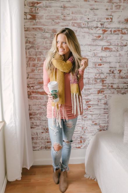 Long Sleeve Ruched Knit Tunic - Rust Rose