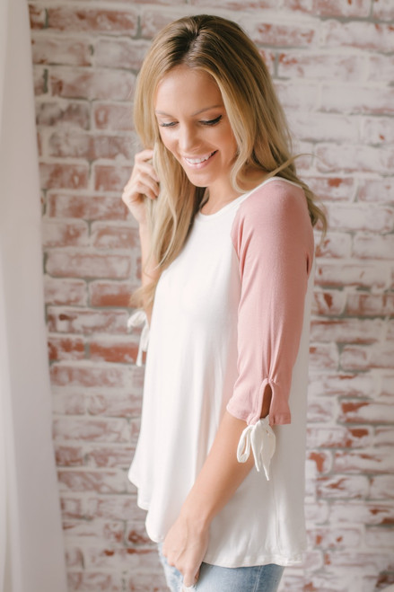 Candy Confection Tie Sleeve Raglan Top - Pink/White