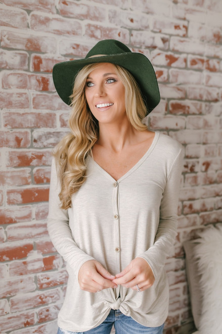 Valley Lodge Button Down Knot Top - Heather Oatmeal