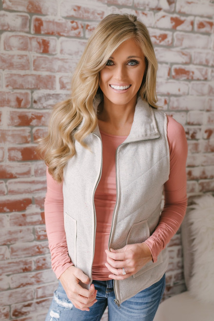 Campfire Kisses Herringbone Confetti Vest - Grey