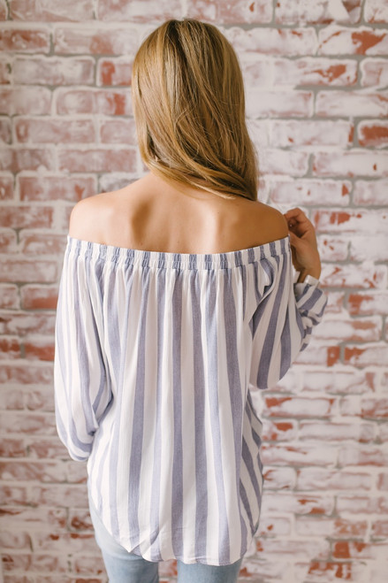 Off the Shoulder Keyhole Striped Top - Blue/White