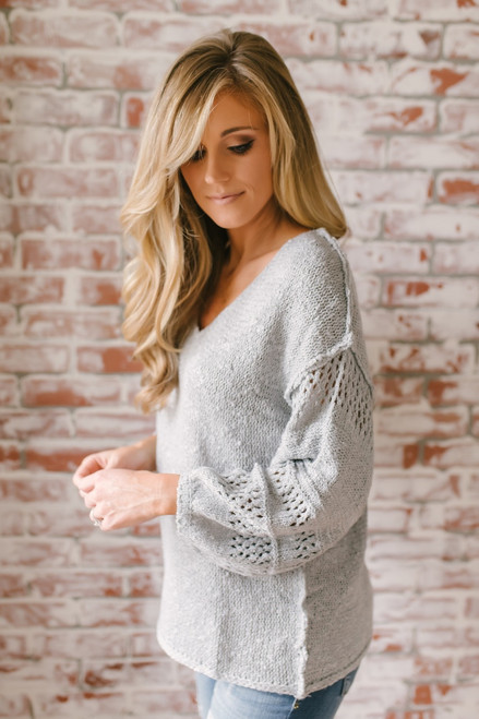 Warm Heart V-Neck Sleeve Detail Sweater - Heather Grey