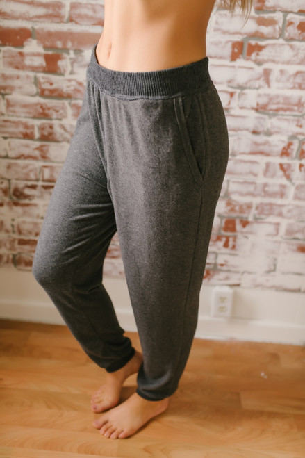 Cozy Nights Soft Brushed Joggers - Charcoal