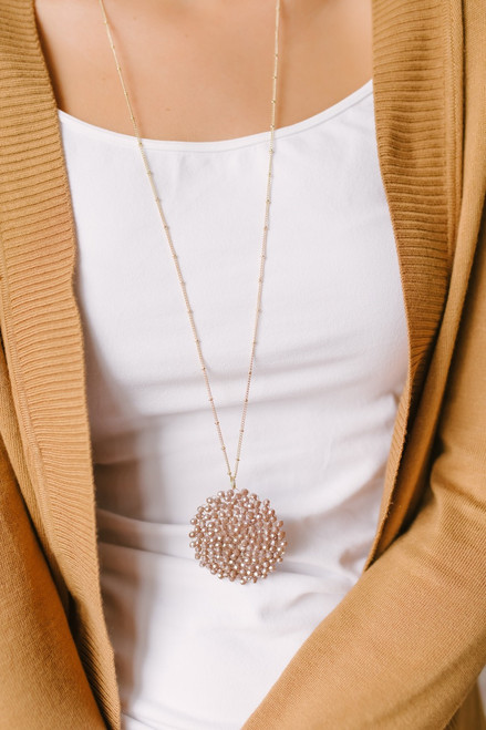 Beaded Starburst Pendant Necklace - Mocha