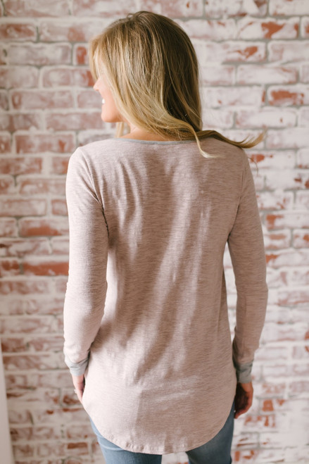 What the Heart Wants Contrast Top - Taupe/Heather Grey