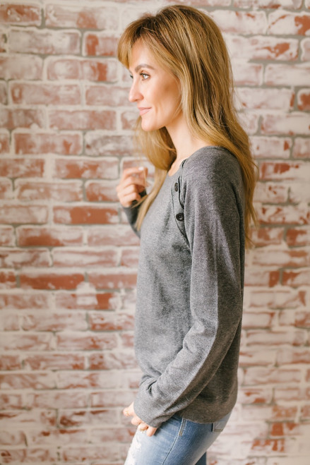 Wine Harvest Button Detail Sweater - Charcoal
