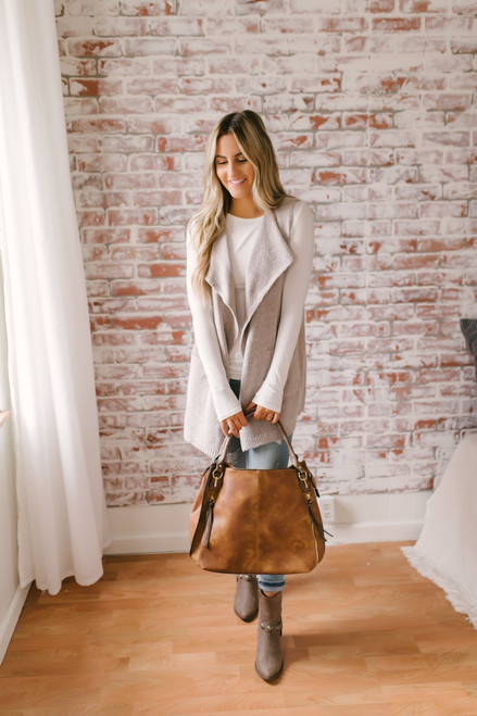 Two Tone Cozy Sweater Pocket Vest - Pink