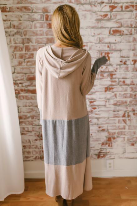 Soft Brushed Colorblock Maxi Cardigan - Taupe/Grey