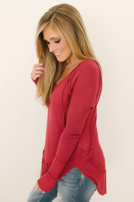 Free People Catalina Thermal Top - Red