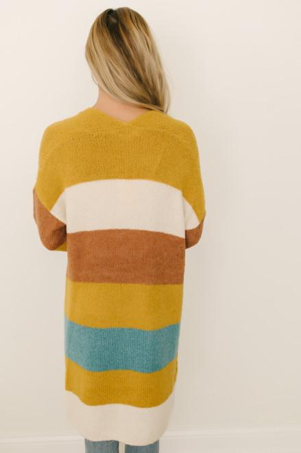 Chase the Sun Colorblock Cardigan - Mustard Multi