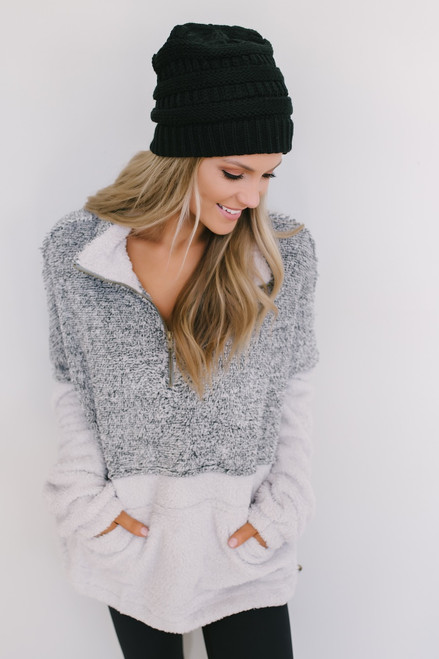 Snow Bunny Colorblock Pullover - Black/Grey