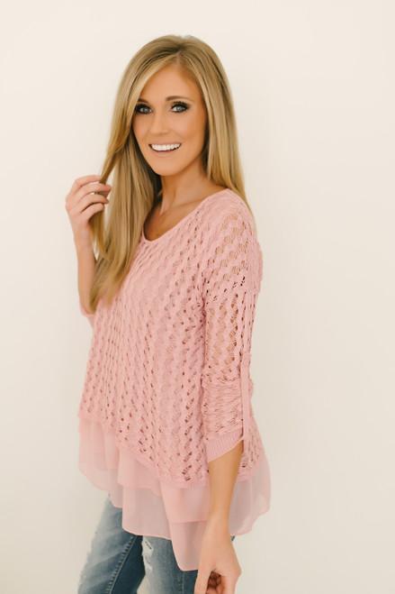 Tiana Contrast Layered Hem Crochet Top - Pink