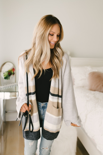 Pour the Champagne Colorblock Cardigan - Grey Multi