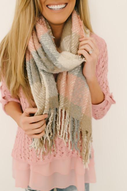 Cozy in Autumn Plaid Scarf - Pink Multi