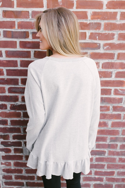 Lola French Terry Peplum Sweatshirt - Heather Grey