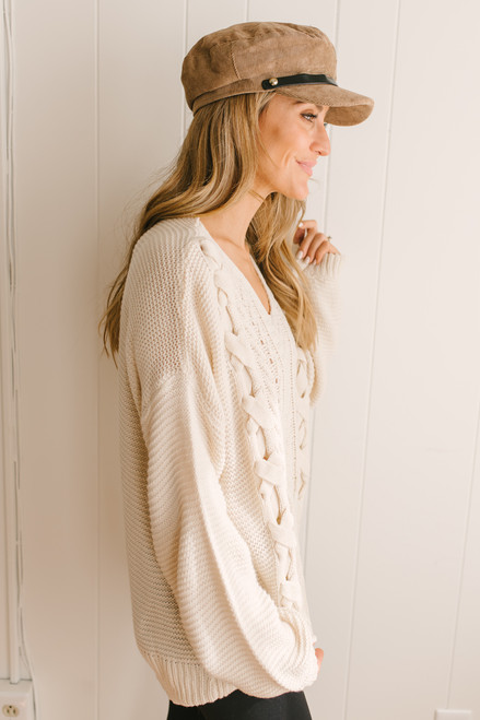 Ski Chalet Lace Up Cable Sweater - Natural