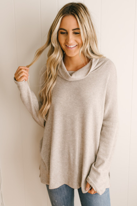 Wind Down Cowl Neck Pullover - Taupe