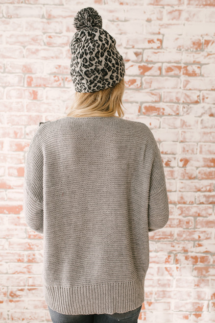 Ski Chalet Lace Up Cable Sweater - Grey