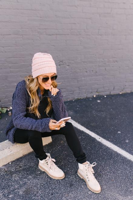 Gracie Cozy Half Zip Pullover - Slate
