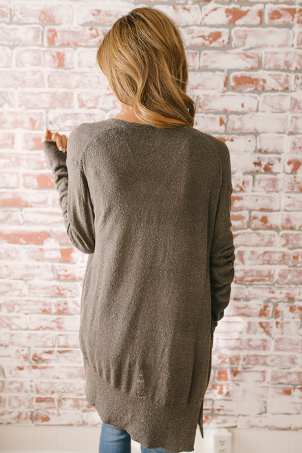 Golden Hour Pocket Cardigan - Charcoal Mocha