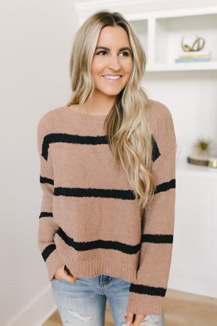 BB Dakota Autrey Striped Sweater - Camel/Black