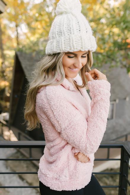 Gracie Cozy Half Zip Pullover - Blush