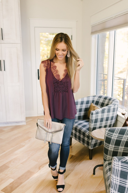 Dreaming of You Lace Detail Top - Cabernet