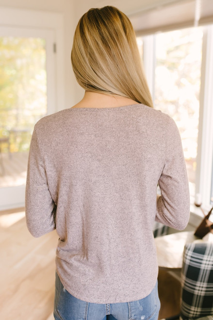 Soft Brushed Ribbed Detail Knot Top - Heather Pink