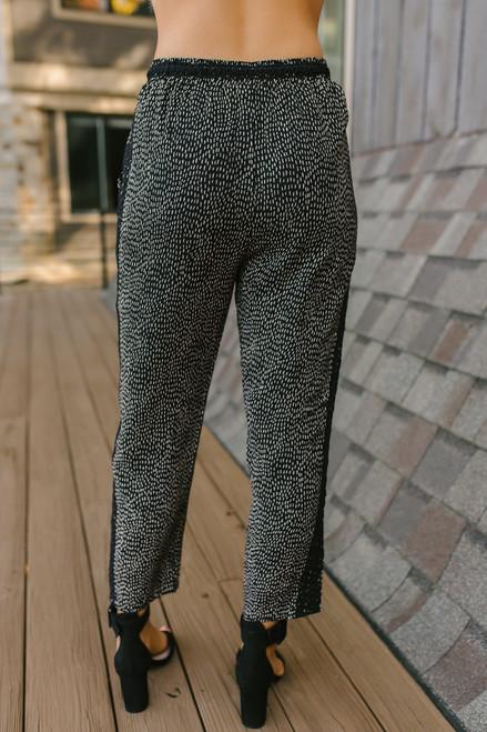 Everly Lace Detail Polka Dot Pants - Black/Gold