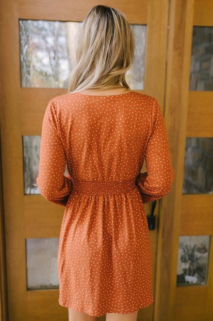 Happy Hour Surplice Polka Dot Dress - Orange/White