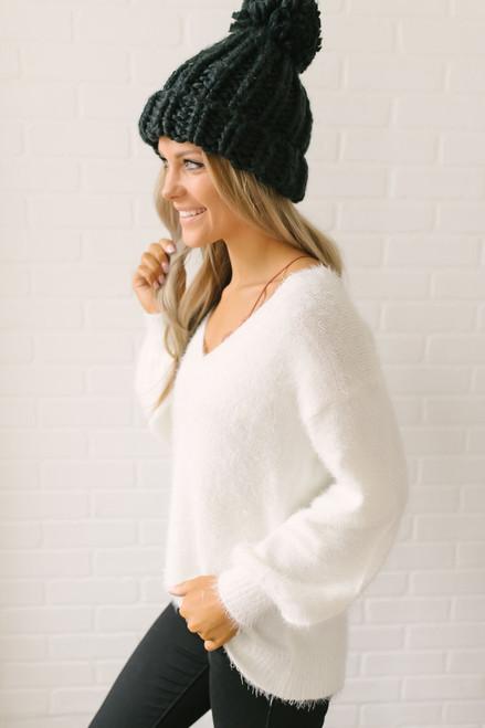 Everly Icelandic Adventure Fuzzy Sweater - Ivory