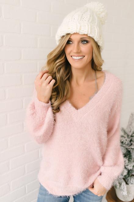 Everly Icelandic Adventure Fuzzy Sweater - Pink